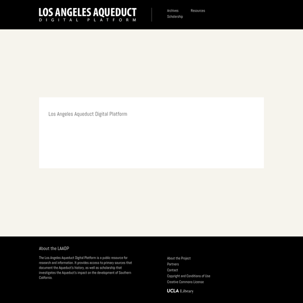 The Los Angeles Aqueduct Digital Platform is a public resource for research and information. It provides access to primary sources that document the Aqueduct's history, as well as scholarship that investigates the Aqueduct's impact on the development of Southern California.