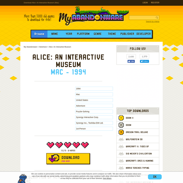 Developed by Toshiba-EMI Ltd., Synergy Inc. and published by Synergy Interactive Corp., Alice: An Interactive Museum is a adventure game revolving around puzzle-solving. It was published in 1994, feel free to download and play it now!
