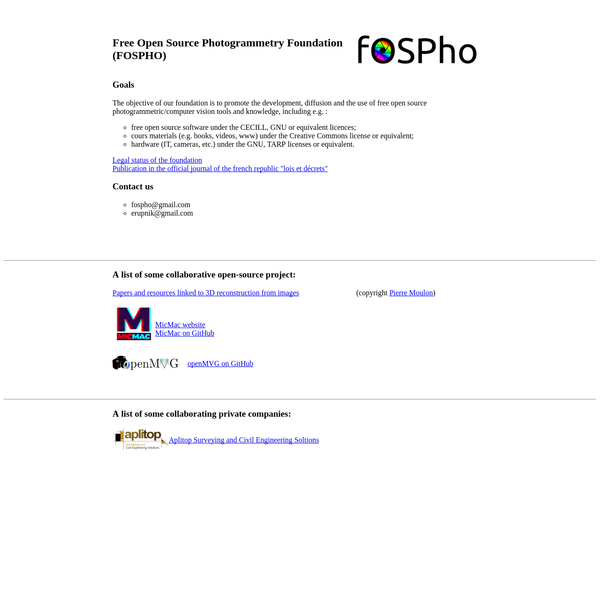 The objective of our foundation is to promote the development, diffusion and the use of free open source photogrammetric/computer vision tools and knowledge, including e.g. :