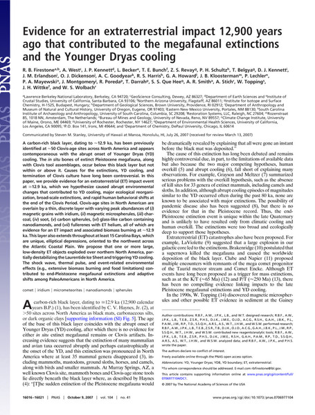 Evidence for an extraterrestrial impact 12,900 years ago that contributed to the megafaunal extinctions and the Younger Dryas cooling (2007)