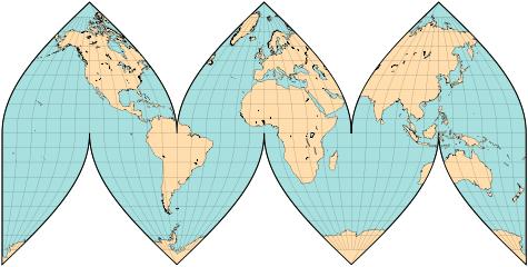 Interrupted sinusoidal map with three lobes per hemisphere
