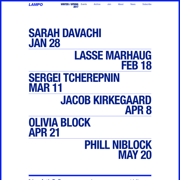 Lampo WS17 runs January to May with programs from Sarah Davachi, Lasse Marhaug, Sergei Tcherepnin, Jacob Kirkegaard, Olivia Block and Phill Niblock.