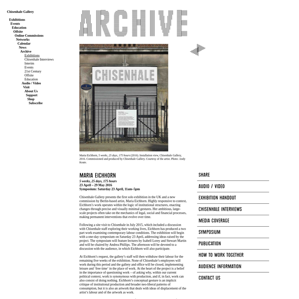 Archive Past Exhibitions Maria Eichhorn | Chisenhale Gallery