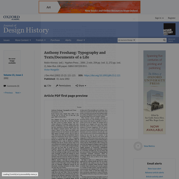 Anthony Froshaug: Typography and Texts/Documents of a Life | Journal of Design History | Oxford Academic