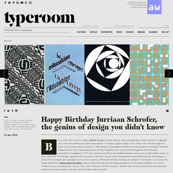 Happy Birthday Jurriaan Schrofer, the genius of design you didn't know