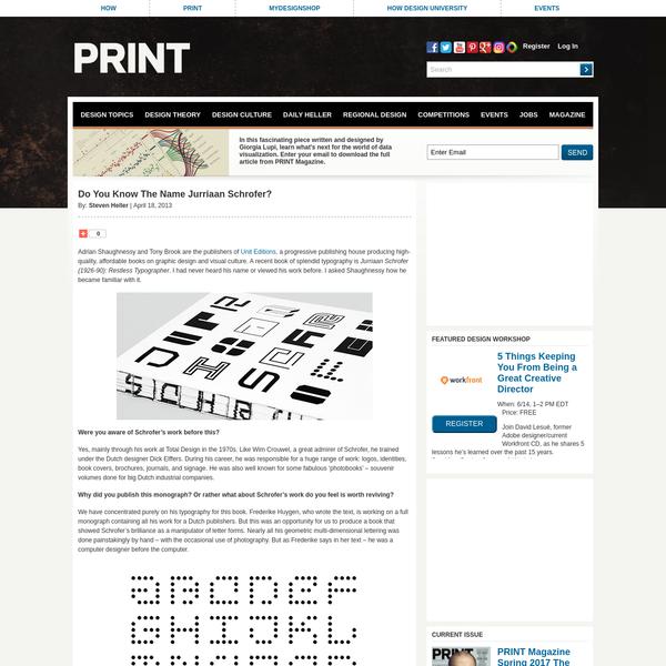Do You Know The Name Jurriaan Schrofer? - Print Magazine