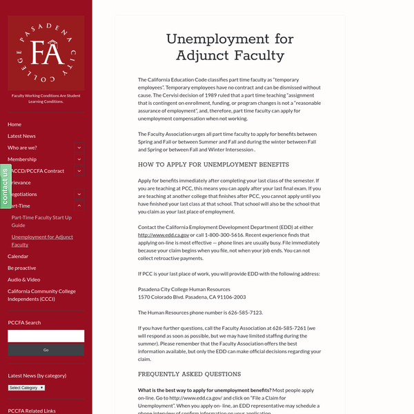 """Unemployment for Adjunct Faculty """" PCC Faculty Association"""