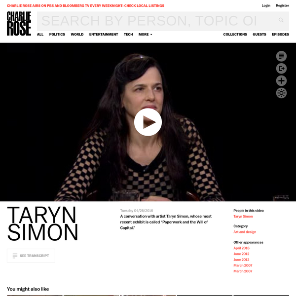 Taryn Simon - Charlie Rose