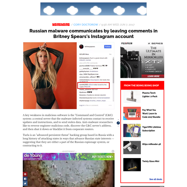 Russian malware communicates by leaving comments in Britney Spears's Instagram account