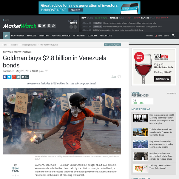 Goldman buys $2.8 billion in Venezuela bonds