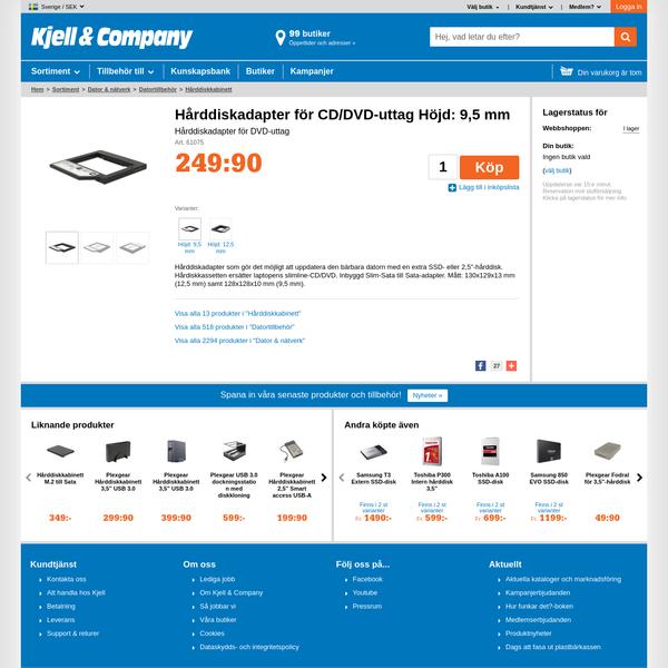 Hårddiskadapter för CD/DVD-uttag Höjd: 9,5 mm - Hårddiskkabinett | Kjell.com