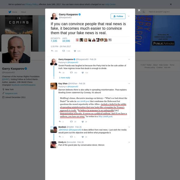 Garry Kasparov on Twitter