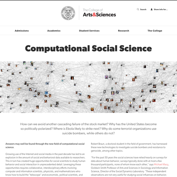 How can we avoid another cascading failure of the stock market? Why has the United States become so politically polarized? Where is Ebola likely to strike next? Why do some terrorist organizations use suicide bombers, while others do not? Answers may well be found through the new field of computational social science.