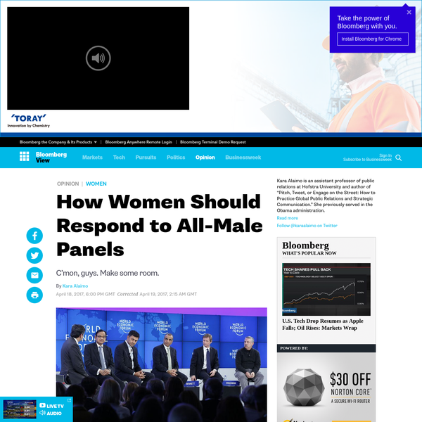 Last month, Goldman Sachs hosted a conference in London on disruptive technology. Out of 76 speakers at the event, five were women. That was hardly an anomaly: At a 2016 event in Davos organized by the company Mercer, for example, all of the speakers on a panel about helping women thrive were men.