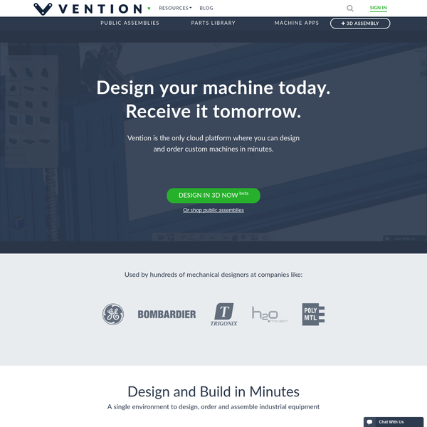 Vention | Custom machine design in your browser