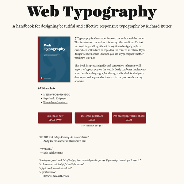 Web Typography - a handbook by Richard Rutter