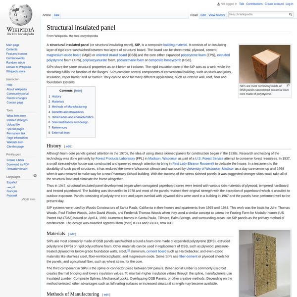 A structural insulated panel (or structural insulating panel), SIP, is a composite building material. It consists of an insulating layer of rigid core sandwiched between two layers of structural board. The board can be sheet metal, plywood, cement, magnesium oxide board (MgO) or oriented strand board (OSB) and the core either expanded polystyrene foam (EPS), extruded polystyrene foam (XPS), polyisocyanurate foam, polyurethane foam or composite honeycomb (HSC).