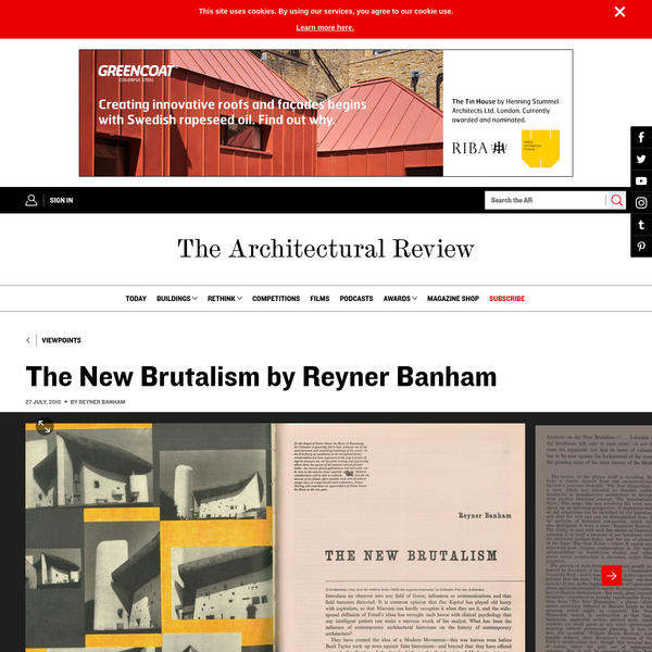 The New Brutalism by Reyner Banham