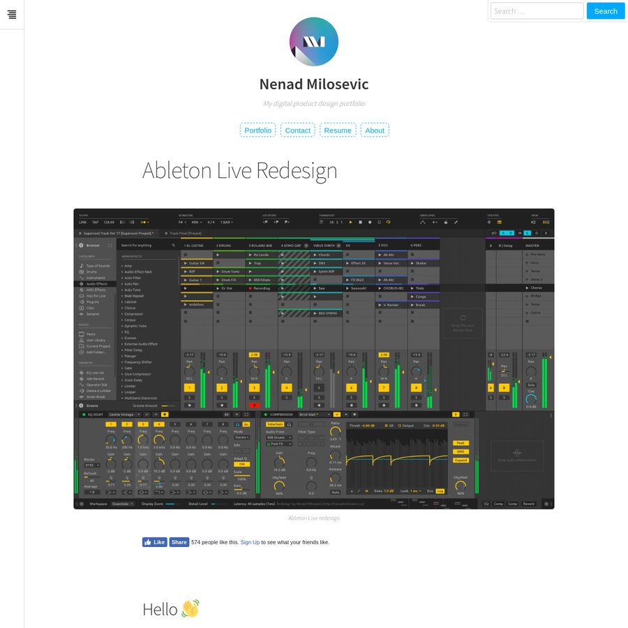 This is my unsolicited redesign of the Ableton Live. I did this to showcase my design skills to peers working at Ableton, where I would love to work as a designer. Let me introduce myself. My name is Nenad and I'm interaction and interface designer.