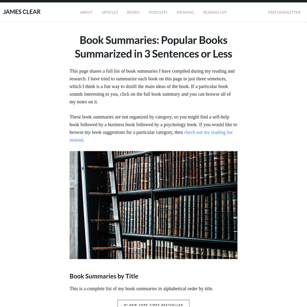 This page shares a full list of book summaries I have compiled during my reading and research. I have tried to summarize each book on this page in just three sentences, which I think is a fun way to distill the main ideas of the book.
