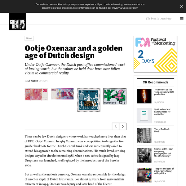 There can be few Dutch designers whose work has touched more lives than that of RDE 'Ootje' Oxenaar. In 1964 Oxenaar won a competition to design the five guilder banknote for the Dutch Central Bank and was subsequently asked to extend his approach to the remaining denominations.