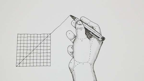 In this hand drawn animation a line is being extrapolated through a grid. When the line surpasses the boundaries of the grid, the process spreads to and reflects on its surroundings. Beyond each boundary the extrapolation of movement is causing deformation in a systematic but speculative way.