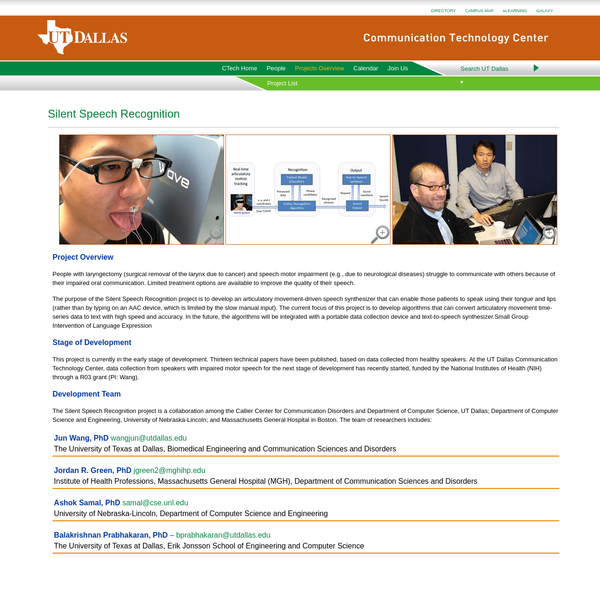 Silent Speech Recognition - Communication Technology Center - The University of Texas at Dallas