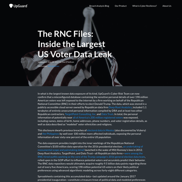 In what is the largest known data exposure of its kind, UpGuard's Cyber Risk Team can now confirm that unsecured databases containing the sensitive personal details of over 198 million American voters was left exposed to the internet by a firm working on behalf of the Republican National Committee (RNC) in their efforts to elect Donald Trump.