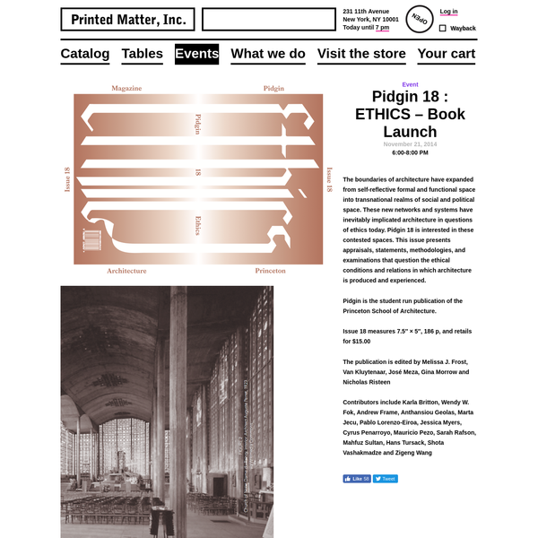 Pidgin 18 : ETHICS - Book Launch - Printed Matter