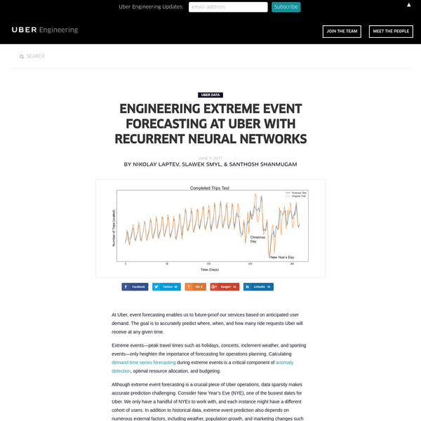 At Uber, event forecasting enables us to future-proof our services based on anticipated user demand. The goal is to accurately predict where, when, and how many ride requests Uber will receive at any given time. Extreme events-peak travel times such as holidays, concerts, inclement weather, and sporting events-only heighten the importance of forecasting for operations planning.