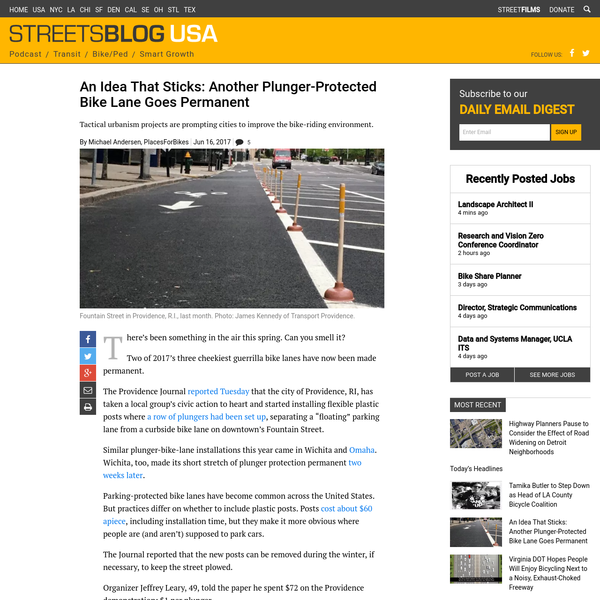 An Idea That Sticks: Another Plunger-Protected Bike Lane Goes Permanent
