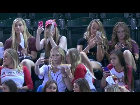 Members of a Greek sorority spend some time engrossed into their phones and selfies instead of the game (footage purportedly taken during the 4th inning) Copyright MLB I do not own this video. *As seen on Reddit