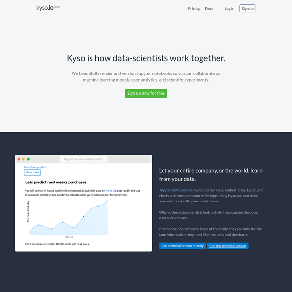 We beautifully render and version Jupyter notebooks so you can collaborate on machine learning models, user analytics, and scientific experiments.