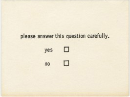 Benjamin Patterson, Questionnaire from Flux Year Box 2. c.1968, Fluxus Edition announced 1964