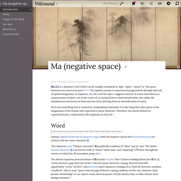 """Ma is a Japanese word which can be roughly translated as """"gap"""", """"space"""", """"pause"""" or """"the space between two structural parts.""""[1][2][3][4] The spatial concept is experienced progressively through intervals of spatial designation. In Japanese, ma, the word for space, suggests interval."""
