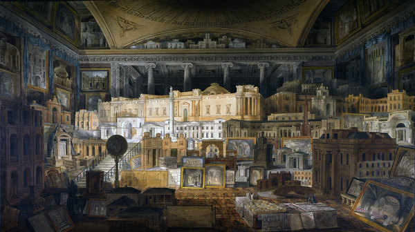 Drawing of a room containing drawings and models of Sir John Soane buildings in Sir John Soane's Museum