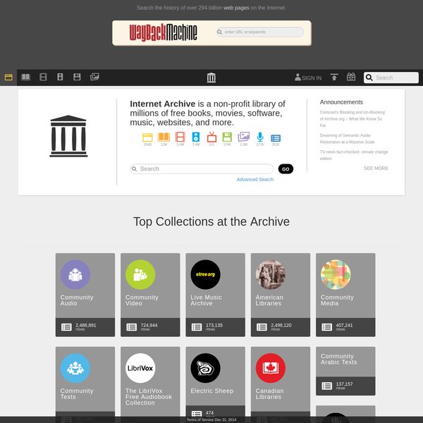 Internet Archive is a non-profit digital library offering free universal access to books, movies & music, as well as 298 billion archived web pages.
