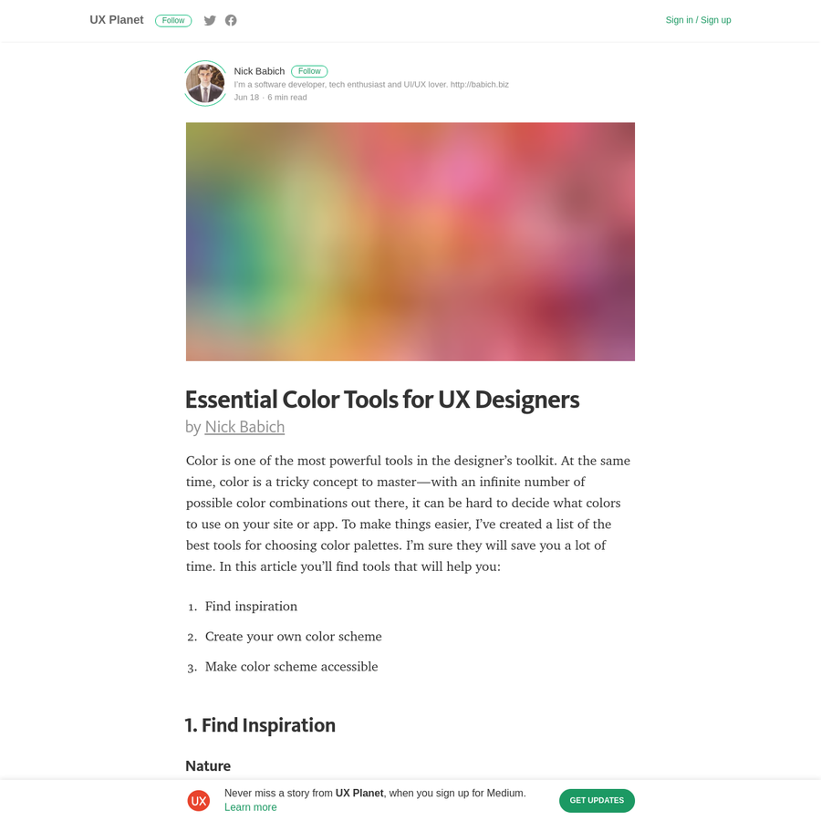 Color is one of the most powerful tools in the designer's toolkit. At the same time, color is a tricky concept to master-with an infinite number of possible color combinations out there, it can be hard to decide what colors to use on your site or app.