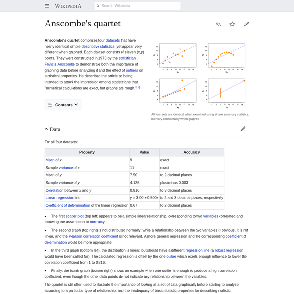 Anscombe's quartet comprises four datasets that have nearly identical simple descriptive statistics, yet appear very different when graphed. Each dataset consists of eleven ( x, y) points. They were constructed in 1973 by the statistician Francis Anscombe to demonstrate both the importance of graphing data before analyzing it and the effect of outliers on statistical properties.