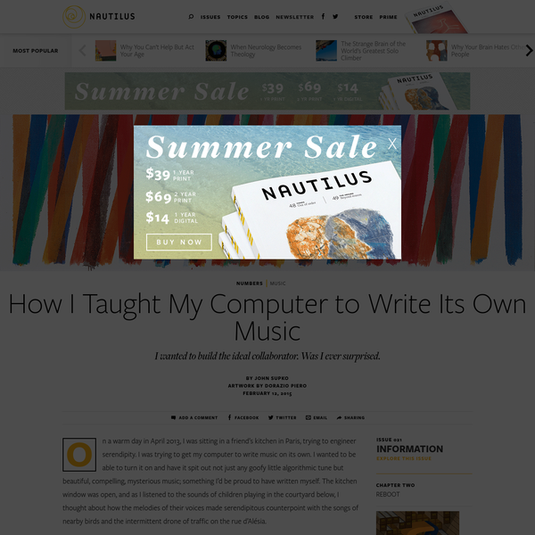 How I Taught My Computer to Write Its Own Music - Issue 21: Information - Nautilus