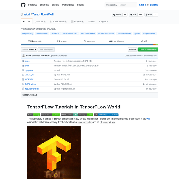 Contribute to TensorFlow-World development by creating an account on GitHub.