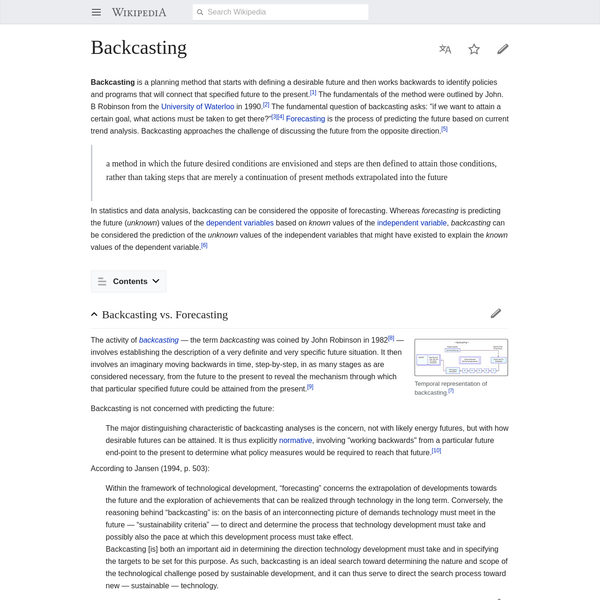 Backcasting is a planning method that starts with defining a desirable future and then works backwards to identify policies and programs that will connect that specified future to the present. The fundamentals of the method were outlined by John. B Robinson from the University of Waterloo in 1990.