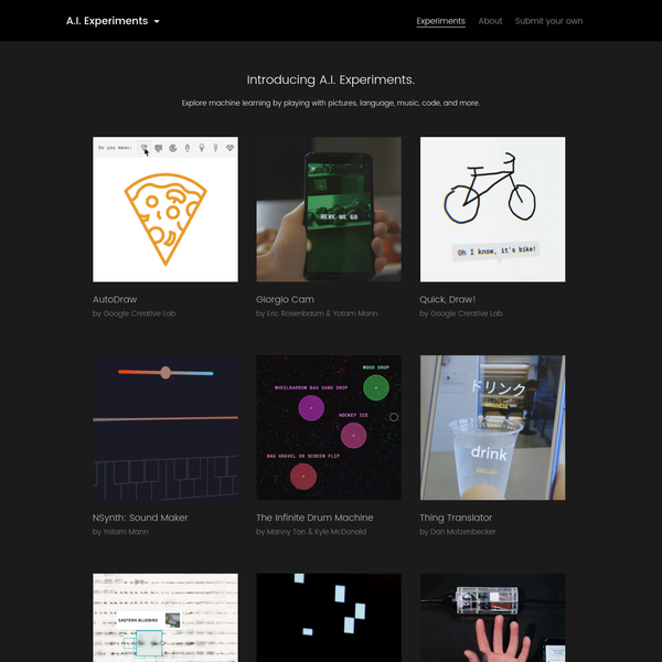 AI Experiments is a showcase for simple experiments that let anyone play with artificial intelligence and machine learning in hands-on ways, through pictures, drawings, language, music, and more.