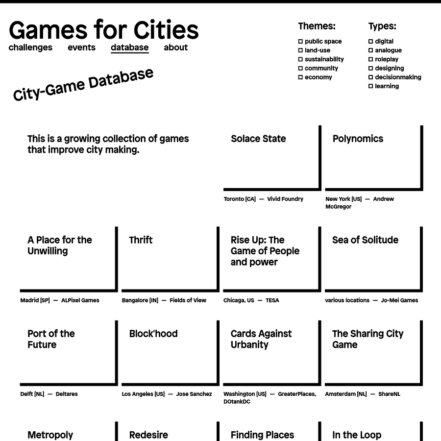 GAMES FOR CITIES explores how gaming improves city-making. Through a series of public events, it aims to document, network, and promote the emerging field of City-Gaming. The program is initiated by Play the City and generously supported by Creative Industries Fund NL.