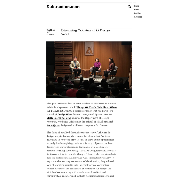 """This past Tuesday I flew to San Francisco to moderate an event at Adobe headquarters called """" Things We (Don't) Talk About When We Talk About Design,"""" a panel discussion that was part of the annual SF Design Week festival."""