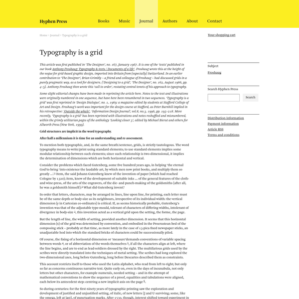 Typography is a grid | Journal | Hyphen Press