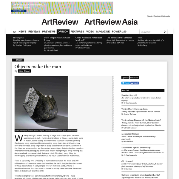 Objects make the man, by Sam Jacob / ArtReview