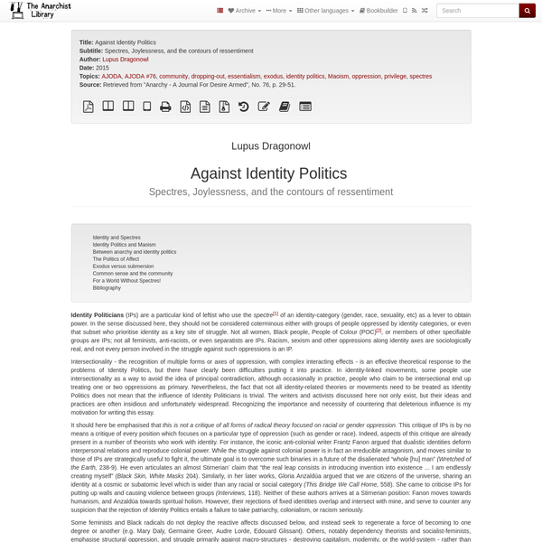 Against Identity Politics | The Anarchist Library
