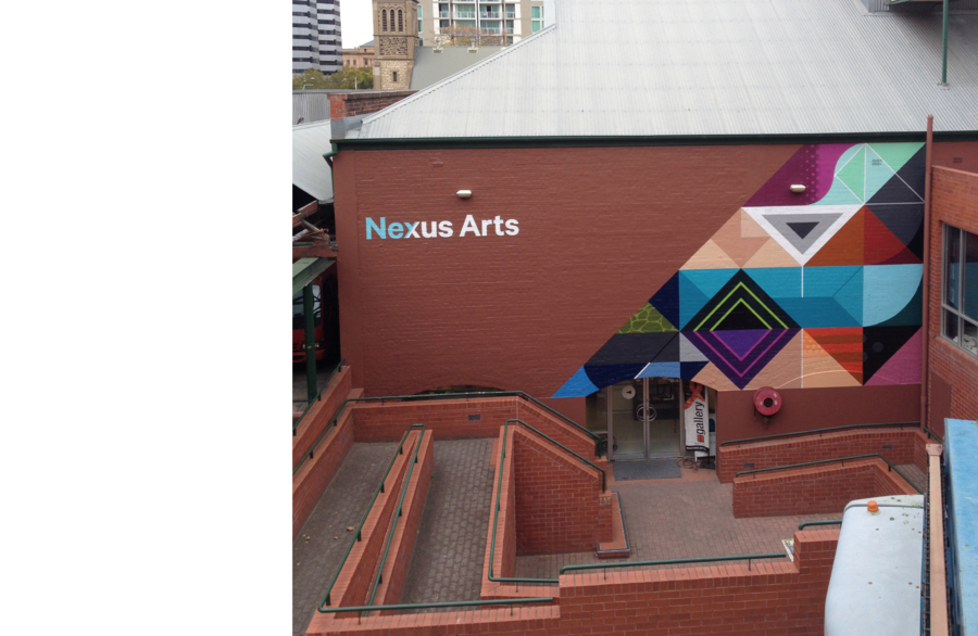 Nexus Arts is an arts centre that supports culturally diverse artists and communities. Working with Chris Martin, we completely designed a new identity and brand system for Nexus Arts.  Nexus Arts, formerly 'Nexus Multicultural Arts Centre', offers a diverse range of programming; from visual arts and live music, to indigenous community and artist development projects. Nexus had no consistent system or language for communicating this to their audience. Additionally, the use of 'multicultural' in their name had gained unwanted stereotypical connotations, and was no longer accurately reflecting the work that Nexus does.  We started by changing 'Nexus Multicultural Arts Centre' to simply 'Nexus Arts', providing a more contemporary and encompassing name. We then categorised Nexus' programming into easily identifiable areas: Gallery (visual arts), Live (music and performance), and Create (community development projects), using a structure that allows for more categories to be added over time.  In constructing the new brand, we were drawn to tangrams — ancient Chinese puzzles that contain a set of shapes that can be rearranged in lots of different ways. We used the tangram's shapes and rules to develop a grid that could be applied to all of Nexus' communications, with custom rules and requirements in place for the family of categories. For example; Live materials feature boldly coloured shapes that support the character of the artist, whilst Gallery materials employ subtle outlines of shapes that sit behind artist images, allowing the work to take visual precedence.  The result was a system that provides tools to present different kinds of programming in unique ways, while still clearly belonging to the Nexus Arts family.