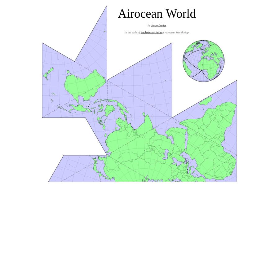 In the style of Buckminster Fuller 's Airocean World Map.